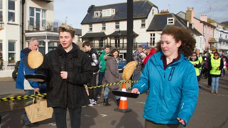 Sid Valley Rotary club pancake races. Ref shs 09 19TI 0591. Picture: Terry Ife