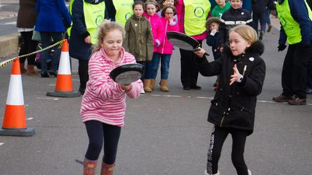 Sid Valley Rotary club pancake races. Ref shs 09 19TI 0525. Picture: Terry Ife