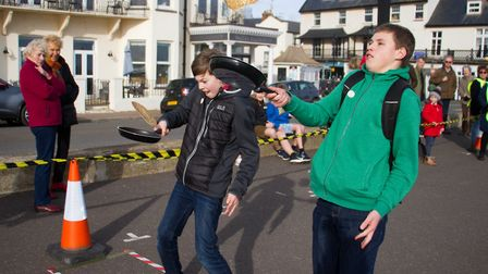 Sid Valley Rotary club pancake races. Ref shs 09 19TI 0583. Picture: Terry Ife