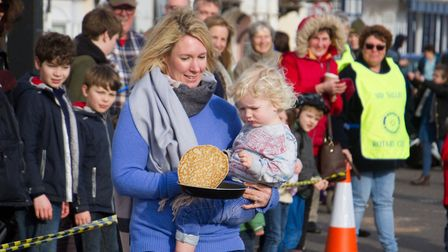 Sid Valley Rotary club pancake races. Ref shs 09 19TI 0572. Picture: Terry Ife