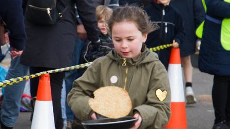 Sid Valley Rotary club pancake races. Ref shs 09 19TI 0529. Picture: Terry Ife