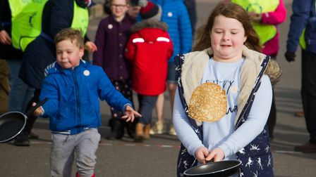 Sid Valley Rotary club pancake races. Ref shs 09 19TI 0545. Picture: Terry Ife