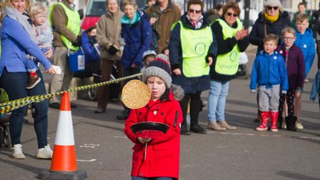 Sid Valley Rotary club pancake races. Ref shs 09 19TI 0543. Picture: Terry Ife