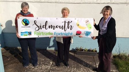 Liz Harris, Trish Sulaimani and Wendy Spratling with Fairtrade banner. Picture: Sharon Howe