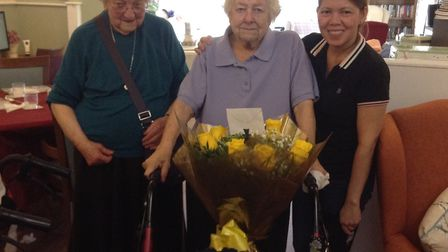 The 'troublesome two', Muriel Sleep and Gwen York, with Elizabeth Hunt from the care team. Picture: