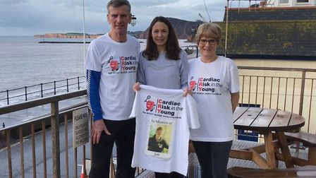 Olympian Jo Pavey (centre) with Rob and Marion Hayman at this year's Four Trigs Challenge. Picture: