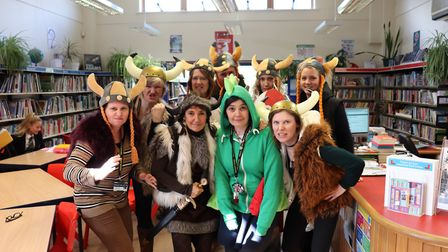 The staff at Sidmouth College in the World Book Day spirit dressed as characters from How To Train Y