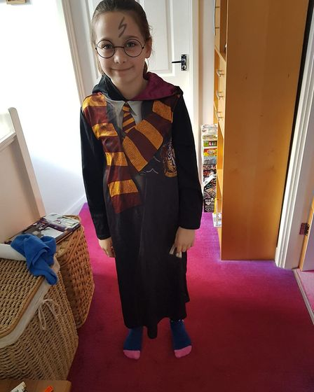 Cordelia, nine, was inspired by the Harry Potter series for her costume. Picture: Andrea Gliddon