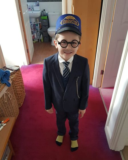 Wesley, five, is the controller from the Polar Express. Picture: Andrea Gliddon