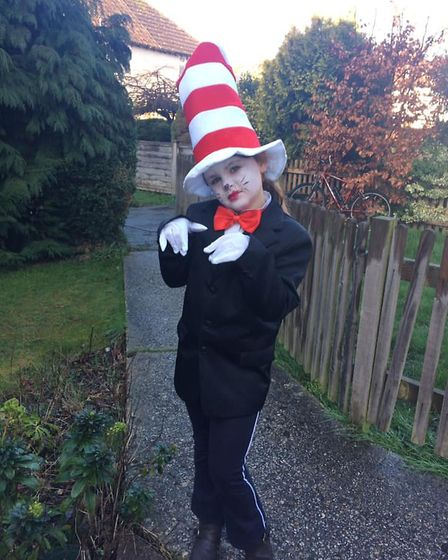 Poppy, six, is Dr Suess Cat in the Hat. Picture: Laura Southcott