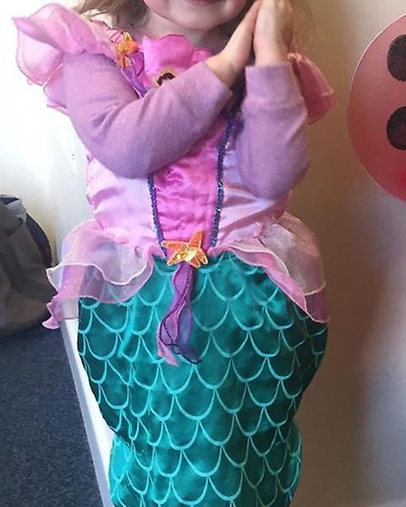 Isabelle dresses up as a singing mermaid. Picture: Contributed