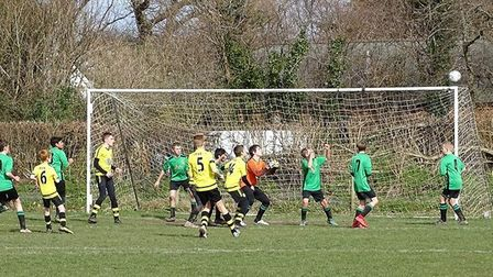 Action from the Sidmouth Warriors 3-1 win over Dawlish. Picture CHRIS ELSOM