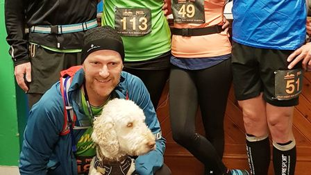 The five Sidmouth Running Club Mighty Greens and Stig before setting off on to tackle 'The Battle of