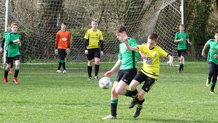 The Sidmouth Warriors U13 Man of the Match, Max Nevell in action during the 3-1 win over Dawlish. Pi