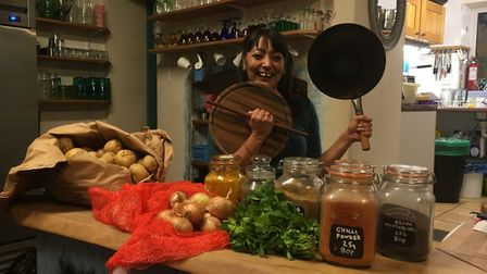 Tina Chauhan-Challis, the Samosa Lady, is going to paint the streets of Ottery for Holi. Picture: Cl