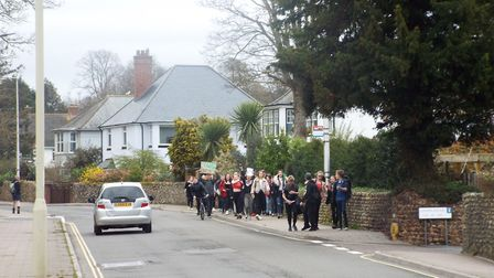 Students of Sidmouth College took to the streets to protest about climate change. Picture: Sam Coope