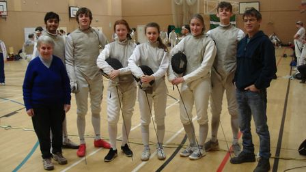(Left to right) Sidmouth & East Devon Fencing Club membersl Val Morrish (head coach), Kenan Palmer,