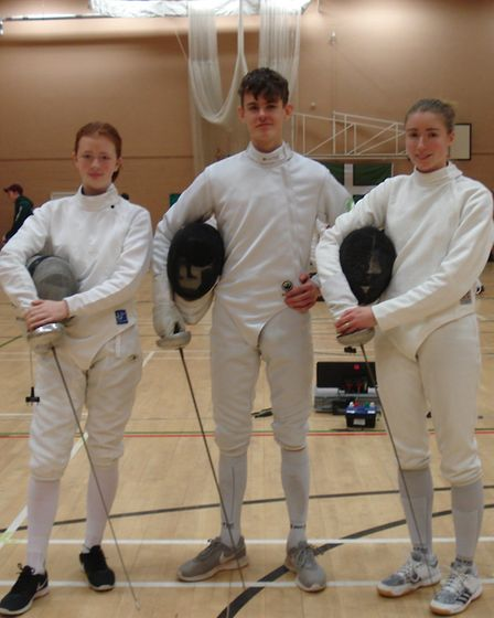 Sidmouth and East Devon Fencing Club trio (left to right) Keely Sawyer, Ollie Manning and Grace Will