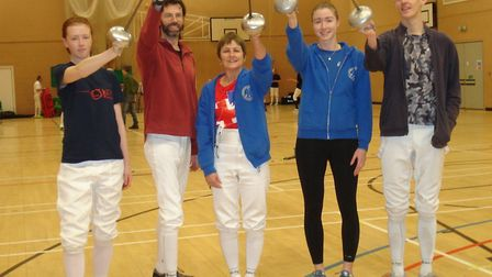 (Left to right) Sidmouth & East Devon Fencing Club members, who took part in the Devon Foil Epee and
