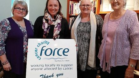 Marion Sharland and her sister Heather present a cheque for £500 to FORCE. Picture: FORCE