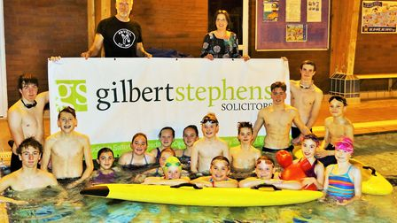 Sidmouth Surf Life Saving Club celebrate their sponsorship with Gilbert Stephens Solicitors. Picture