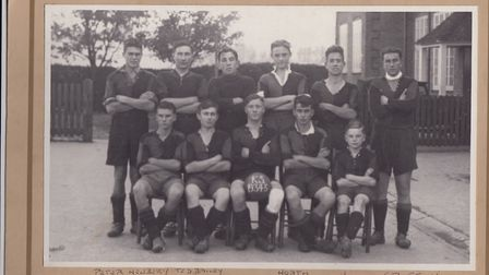 Edward Bailey, back row second from left, with The King's School football team, 1934. Picture: John