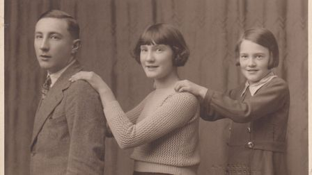 Edward Bailey with his sisters. Picture: John Eaton