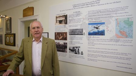 John McCarthy with the RAF display at Sidmouth Museum. Ref shs 13 19TI 0877. Picture: Terry Ife