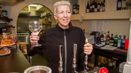 Sarah Mallett, owner of Blues Wine Bar in Sidmouth. Ref shs 14 19TI 1650. Picture: Terry Ife