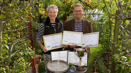 Sidmouth in Bloom's Lynette Talbot and Peter Endersby with their awards. Ref shs 43 18TI 3657. Pictu
