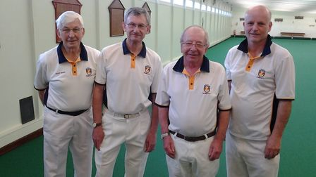 Sidmouth Bowls Club men's pairs winner David Pearson and Andrew Lowe with runners-up Geoff Moss and
