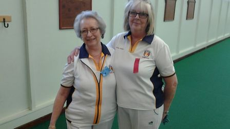 Sidmouth Bowls Club ladies championship winner Jill Bishop (left) and Susie Bonnell (right). Picture