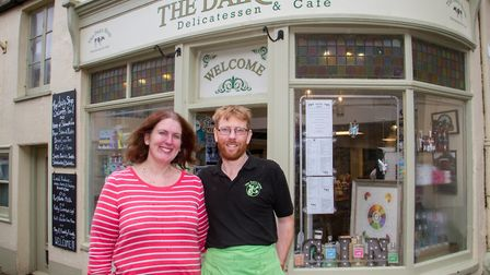 John and Kirsty Hammond outside The Dairy Shop. Ref edr 11 19TI 0828. Picture: Terry Ife
