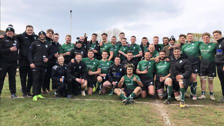 Sidmouth RFC celebrate their Tribute Western Counties (W) title success. Picture SIDMOUTH RUGBY CLUB