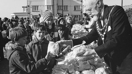 Sidmouth Easter bun fight - 1977. Picture: Sidmouth Herald archives. Ref shs Sidmouth Bun Fight Nost