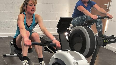 Sidmouth Gig Club duo Megan Rodgers and Linda Wheate getting fit for the club's ERGO Marathon. Pictu