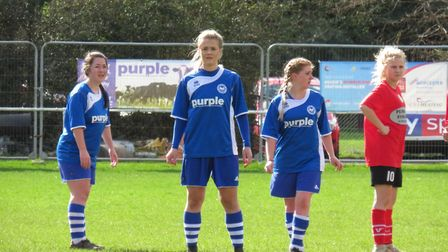 Action from the Ottery St Mary ladies meeting with Plymouth side SB Frankfort. Picture BEX WILSON