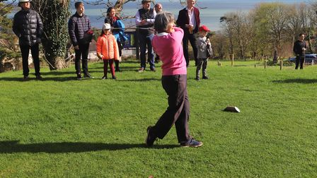 Sidmouth's new lady captain Gill Paddon fires the ball up the firsrt fairway at the start of her yea