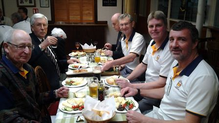 Sidmouth Bowls Club, Captain's Day and the captain's table. Picture CAROL SMITH