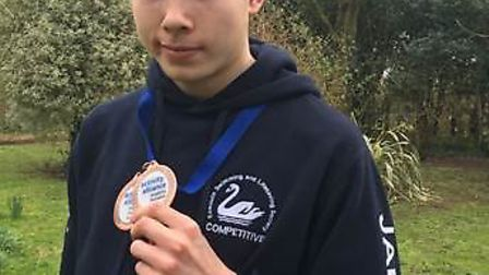 Jamie Salvador-Swords won two bronze medals at a swimming championships in Liverpool. Picture: Bicto