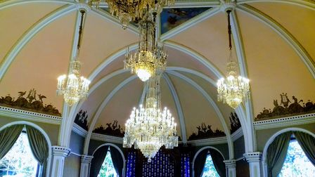 The three restored chandeliers shine bright in Sidholme Music Room, with the final four still to res