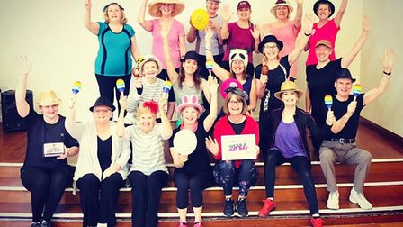JM Dance Fit members danced it out in their fetching headgear. Picture: JM Dance Fit