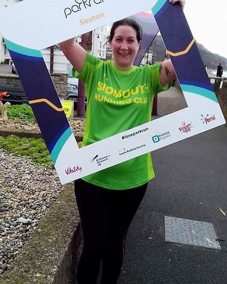 Sidmouth Running Club member Sarah Johnson at the Seaton Parkrun. Picture SIDMOUTH RUNNING CLUB