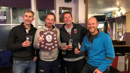The Sidmouth men's A team after winning the Exeter and District Winter League Division Two title. Pi