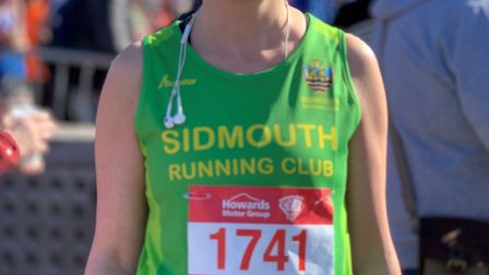 Sidmouth Running Club member Cheryl Boulton at the Weston-supe-Mare half marathon. Picture SRC