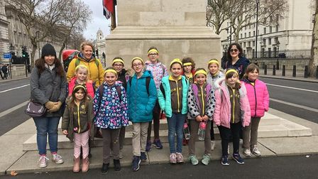 1st Sidmouth Brownies at the Cenotaph in London. Picture: 1st Sidmouth Brownies
