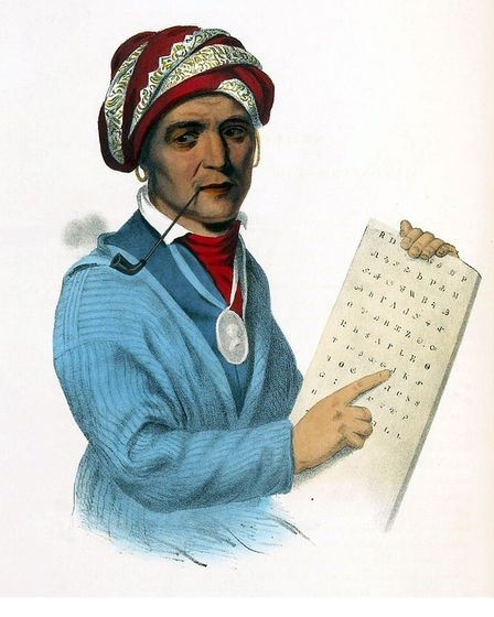 The Cherokee Sequoyah from a lithogrpah by Victorian lithogroahers Duval and Lehman