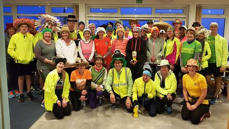 The Sidmouth Running Club's Wednesday Night group supporting Charlotte Reid's 'Wear a Hat for Brain
