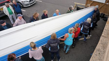 The turnover is complete the Keith Owen is returned to the shed. Picture SIDMOUTH GIG CLUB