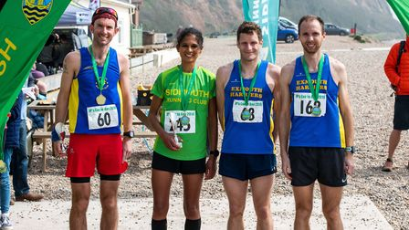 The winners of the JP's Exe to Axe 2019 race. (Left to right) James Donald (Bath Athletic Club), Kir
